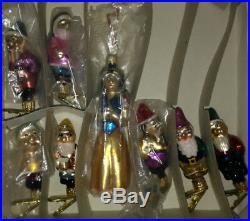 Disney Radko 1995 Snow White & the Seven Dwarfs Clip Christmas Ornament Set NIB