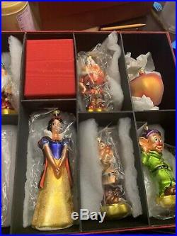 Disney Radko Snow White 7 Dwarfs Apple Limited Edition Ornament 9 Piece Set