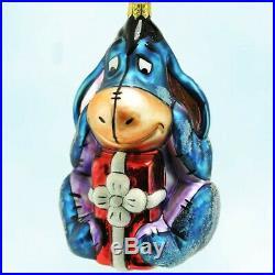 Disney Winnie The Pooh Christopher Radko Eeyore Christmas Ornament with Stand New