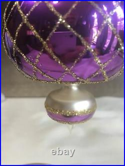 Early Christopher Radko Ball Drop Spin Top Purple / gold ornament 1980s