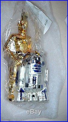 Early Christopher Radko Star wars ornament unused in original box R2D2 & c3p0