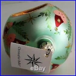 Green 2 Tier Christopher Radko Elf 3 Reflector Ball Ornament 1992 Laurel Jester