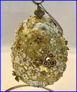 JAY STRONGWATER Glass Ornament Floral OVAL BLOSSOM EGG 5 EASTER New In Box
