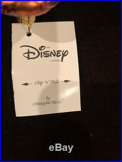 Limited Ed Numbered Christopher Radko Chip & Dale Ornament Disney With Box & Tag