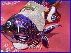 Lot 3 Christopher Radko Ornament Fish Tags 1012161 Fantail Finny In Rainbow