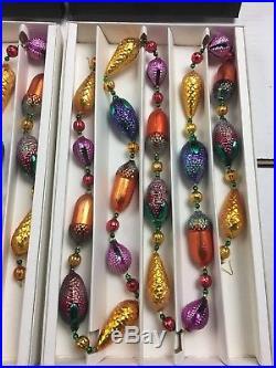 Lot of 2 Christopher Radko Ornament, GARLAND, PINE CONES & ACORNS, with Box