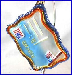 Lot of 4 Christopher Radko Glass American Patriotic Ornaments withStands