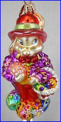 Lot of 4 Christopher Radko Glass Ornaments Easter Bunny & Eggs withStands