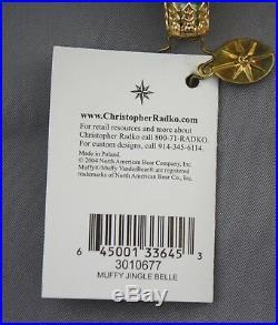 Muffy Jingle Belle 2004 Ornament Christopher Radko 3010677 Teddy Bear Bell Green