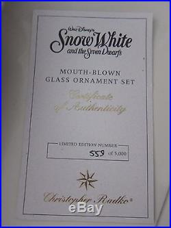 New Christopher Radko Snow White Seven Dwarf Hag Mirror Evil Queen Ornaments