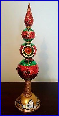 NEW Christopher Radko Barrouque Colorful Glass Finial Tree Topper 1018897
