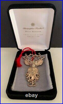 NEW Christopher Radko Regal Reindeer Sterling Silver Ornament Brooch Pin Ltd Ed