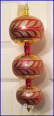NWT 1997 Christopher Radko Corinthian 3 Tier Spire Ornament 97-399-1 XL Red Gold