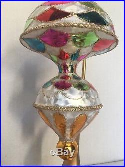 RADKO 8.5 SPARKLE FROST Harlequin Circus Balloon Ornament 1011679 RARE AMAZING
