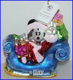 RADKO MICKEY'S SLEIGH RIDE Christmas Ornament 97-DIS-93 Rogers Garden Exclusive