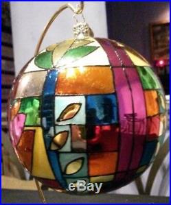 RADKO MULTI COLORED CHECK Glass Ball Christmas Ornament 5