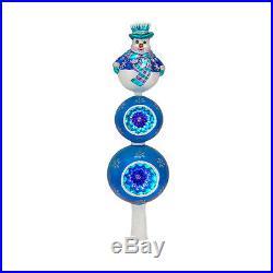 RADKO WINTER CHILL Snowman 13 Tree Top Glass Ornament New Made Poland