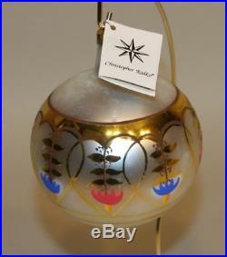 RARE 1988 SIGNED Radko Glass Christmas Ornament Royal Porcelain Gold Ball 88-012