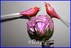 RARE 1997 Christopher Radko ROSEY LOVEBIRDS Ornament GERMAN CLIP ON REFLECTOR