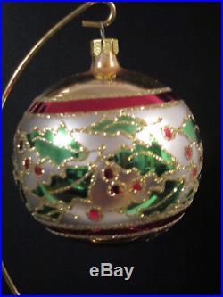 RARE Christopher Radko HOLLY RIBBONS Glass Ball Christmas Ornament, 1993