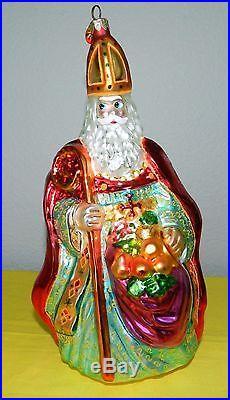 Rare Large Christopher Radko Santa Pope Fruit Bag Christmas Ornament 11 No Box