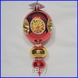 Radko 1994 RUBY REFLECTOR Vintage RARE Red & Gold Spire Ornament NEW withTag