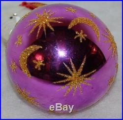 Radko CENTER RING PURPLE Christmas Ornament 90-090-4 ELEPHANT ON BALL