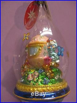 Radko Dapper Dome Deluxe 8 Bunny On Coach In Dome Easter Ornament 1011631