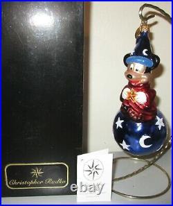 Radko Disney Mickey's World Sorcerers Apprentice Christmas Ornament New + Box
