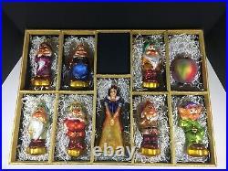 Radko Disney Snow White Seven Dwarfs 9 Pc Ornament Set Roger's Garden Exclusive