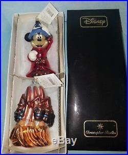 Radko Disney Sorcerer's Apprentice Mickey & Fantasia Brooms Ornament 2pc