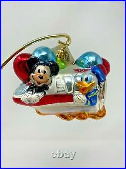 Radko Disney World Monorail Mickey Minnie Donald Goofy Glass Ornament 02-DIS-13