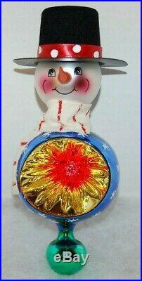 Radko FROSTY REFLECTIONS Christmas Ornament 00-285-0 RARE SNOWMAN BALL REFLECTOR