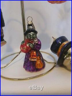 Radko Halloween Ornaments Lot of 5 Skull, Witches, Pumpkin, Ghost, Frankie Gems