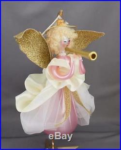 Radko Hearald Angel 1998 Italian Ornament 98-068-0 Pink Dress Paper Wings Horn