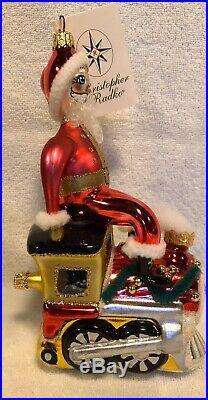 Radko Italian Blown Glass Ornament All Aboard! Santa On His Train Tag/Box Rare