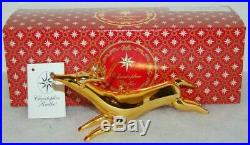 Radko ONE SMALL LEAP Christmas Ornament 93-222-0 GOLD REINDEER, ITALIAN MADE