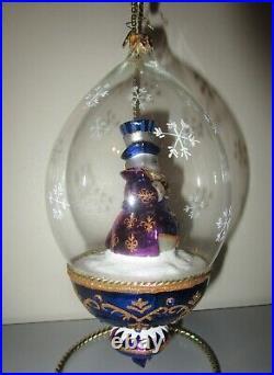 Radko PLUM FROSTY Snowman Dome Globe LIM ED 700 Glass Christmas Ornament 1017624
