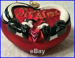 Radko/Warner Bros. JE T' AIME Pepe LePew & Penelope Ornament Heart I LOVE YOU