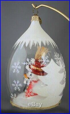 Radko Winter Fun Snowman #1011307 Blown Glass Ornament in Frosted Globe