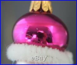 Radko Winter Skate 1997 Ornament 97-341-0 Italian Blown Glass Pink Hat Tree