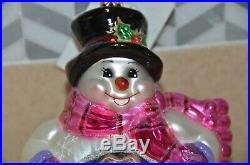 Rare Christopher Radko Belly Roll Snow Stroll Snowman Reflector Holiday Ornament