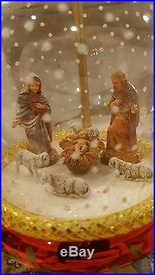 Rare Vintage 1995 Christopher Radko Nativity Snowfall Hanging Ornament and Stand