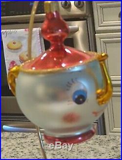 Rare & Vintage Christopher Radko Italian Blown Glass Ornament TEA and SYMPATHY