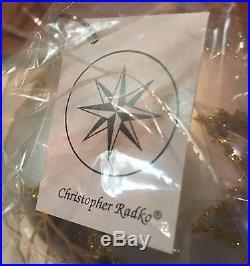 SET OF 6 CHRISTOPHER RADKO SILVER SCARLETT WEDDING DRESS GLASS ORNAMENTS IN BOX