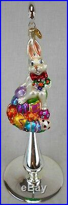 Second Lot of 4 Christopher Radko Glass Ornaments Easter Bunny & Eggs withStands