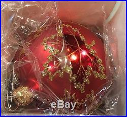 Set of 6 CHRISTOPHER RADKO RAINBOW SCARLETT WEDDING DRESS GLASS ORNAMENTS IN BOX