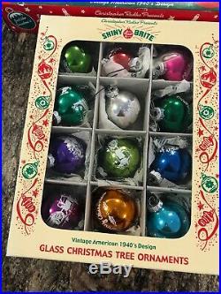 Shiny Brite Christmas Boxed Ornaments Christopher Radko 1940 New Twirl Jewel