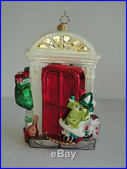 Two Sided SANTA AT DOOR 3D CHRISTOPHER RADKO Mouth Blown Glass Ornament