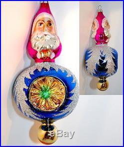 VERY RARE Christopher Radko 1992 2 SIDED SANTA REFLECTOR Vintage Glass Ornament